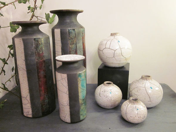 Tall pots and round bottles